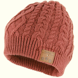 Dusty Cedar beanie with headphones for women