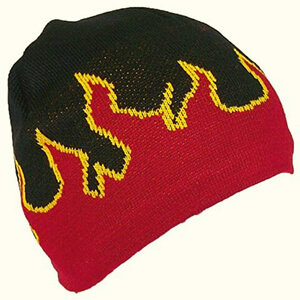 Fire flames fleece-lined beanie