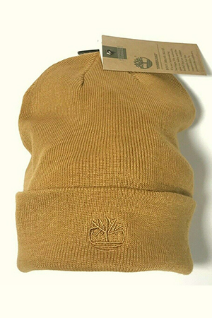 Light yellowish-brown Timberland beanie with embroidered tree