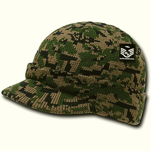 Military-style camouflage beanie with bill