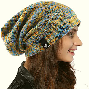 Multi-colored baggy beanie women's loose style