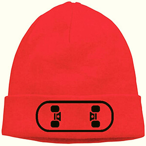 Red skater beanie with skateboard on the cuff