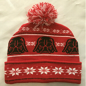 Winter-themed red Star Wars beanie with Darth Vader