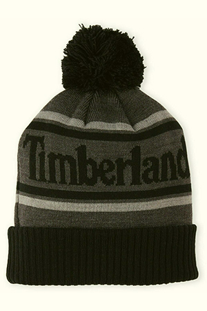 Black and gray Timberland beanie with big script and pom-pom