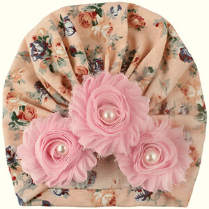 Floral turban baby girl's beanie hat with 3 flowers
