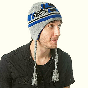 Gray R2D2 beanie with ear flaps and tassels