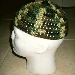 Handmade crochet skull camo beanie