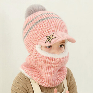 Light pink with bill and pom pom toddler's balaclava
