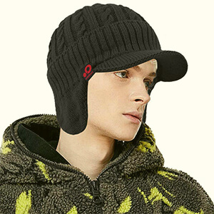 Mens Black knit billed beanie with ear flaps