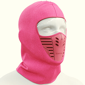 Pink anti-dust hoodie style winter face mask