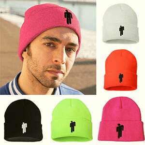 Pink blohsh beanie with the folded part