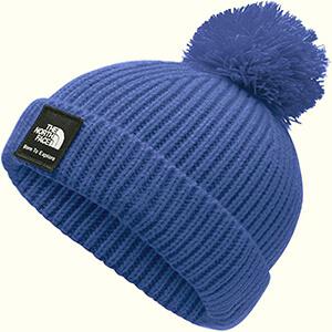 Royal blue folded baby boy's beanie hat with pom pom