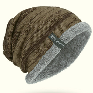 Slouchy with fleece curved edge fleece-lined beanie