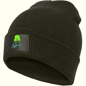 Black Beanie Billie with Billie Eilish printed on tag wearing a neon-green beanie