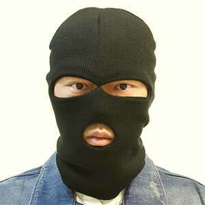 Black knit cold weather face mask