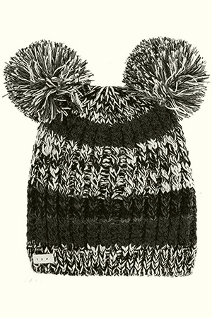 Black-gray-white double pom poms beanie with stripes