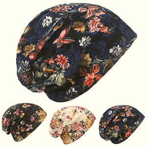 Blue floral elegant lace baggy hot weather beanie