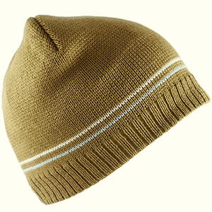 Brown with white stripes skater beanie