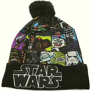 Comic book print Star Wars beanie with pom pom