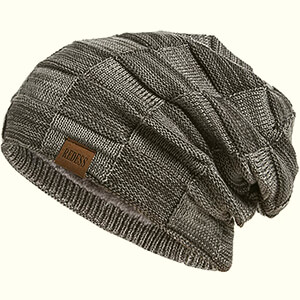Eco-friendly decorative knit men's slouchy beanie