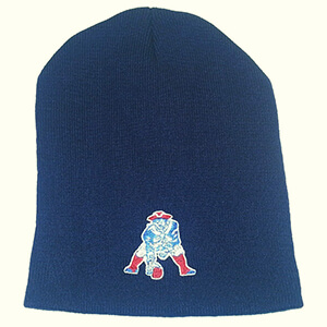 Navy blue Patriots beanie with vintage logo