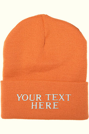 Orange winter wool custom logo beanie