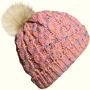Pink with colorful threads baby girl's beanie hat