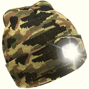 Rechargeable LED flashlight camouflage beanie
