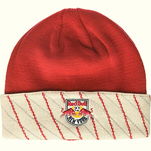 Red-white Red Bull beanie with diagonal stripes