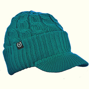 Teal-colored beanie with bill