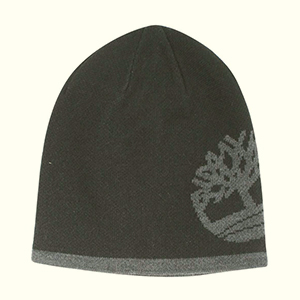 Black and gray reversible Timberland beanie with big embroidered tree