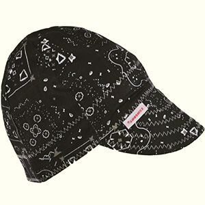 Black welding beanie cap with decorative print