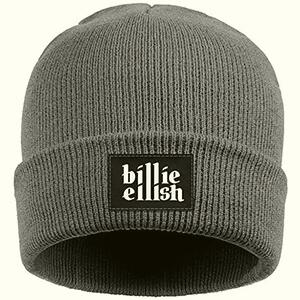 Cuffed gray Billie Eilish beanie with Billie Eilish script on black tag