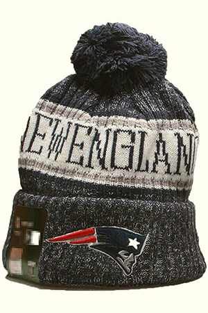 Dark blue Patriots beanie with New England script