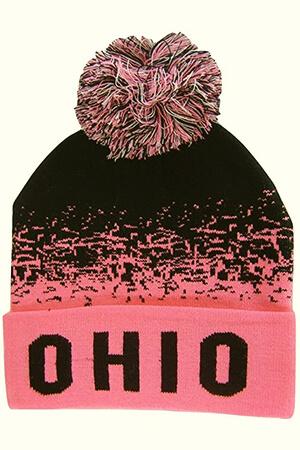 Digital fade black-pink fabric Ohio state beanie with pom pom