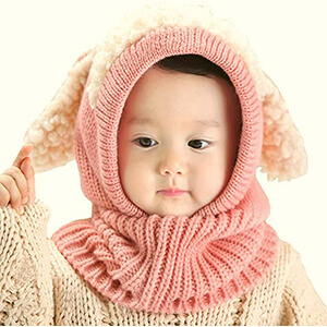 Pink baby girl's beanie hat with head and neck coverage