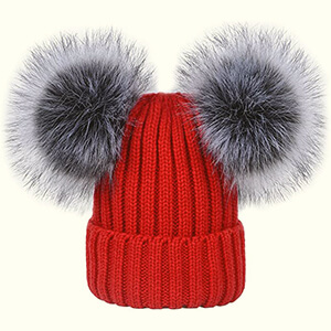 Red cuff women's double pom poms beanie with gray fur pom poms