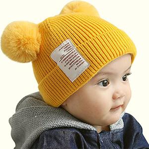 Yellow organic infant boy's beanies