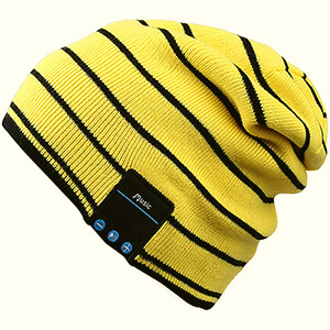 Yellow-black stripes beanie with built-in headphones