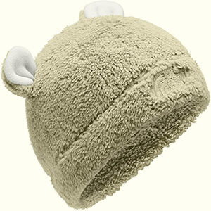 Beige fleeced infant boy's beanie with ears