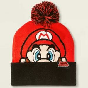 Big Super Mario head beanie with pom pom for kids