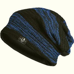 Black-blue stripes oversized beanie men