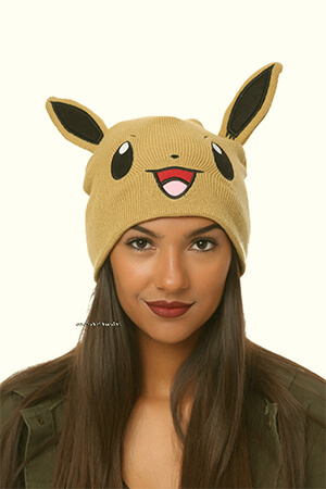 Eevee beanie with ears for adults