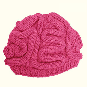 Pink knitted wool brain beanie