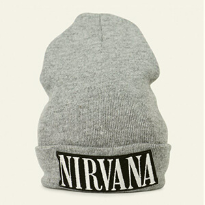 Retro gray Nirvana beanie