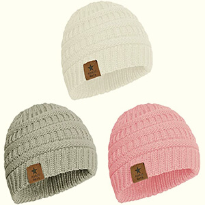 Warm knit 3 pack baby girl's beanie hat