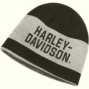 Wide stripe reversible black-gray Harley-Davidson beanie