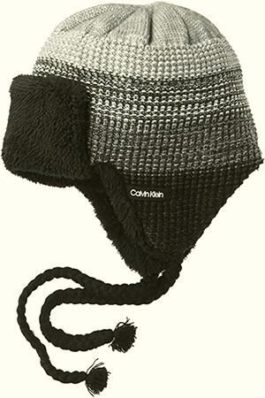 Winter Calvin Klein beanie men with earflaps and tassels