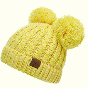 Yellow with little bit of white threads two pom poms beanie