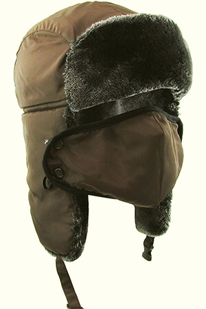 Brown full fleece cover snow face mask
